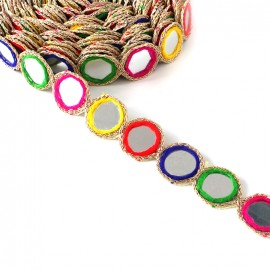 Trimming ribbon India Mirror - multi x 25cm