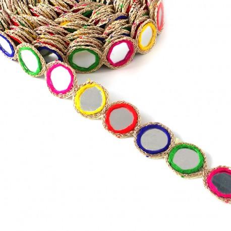 Trimming ribbon India Mirror - multi x 25cm