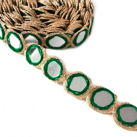 Trimming ribbon India Mirror - dark green x 25cm