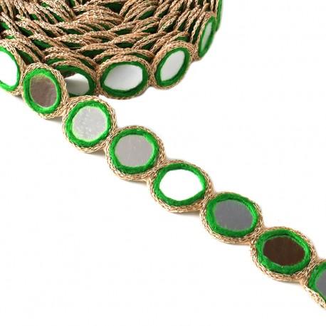 Trimming ribbon India Mirror - light green x 25cm