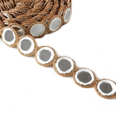 Ruban galon India Miroir - blanc x 25cm