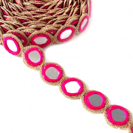 Trimming ribbon India Mirror - fuchsia x 25cm