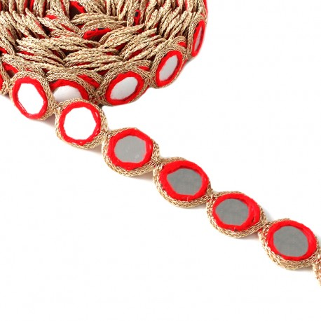 Trimming ribbon India Mirror - red x 25cm