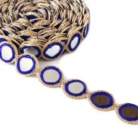Trimming ribbon India Mirror - royal blue x 25cm