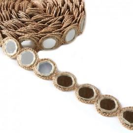 Ruban galon India Miroir - beige clair x 25cm