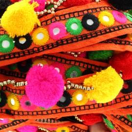 Trimming ribbon golden bead pompom India - orange x 50cm