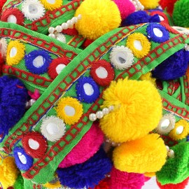 Trimming ribbon bead pompom India - green x 50cm