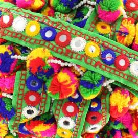 Ruban galon pompon perle India multi - vert x 50cm
