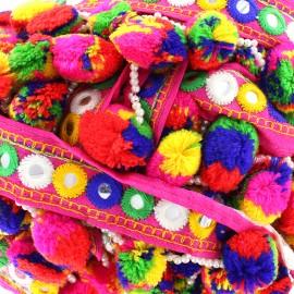 Ruban galon pompon perle India multi - rose x 50cm