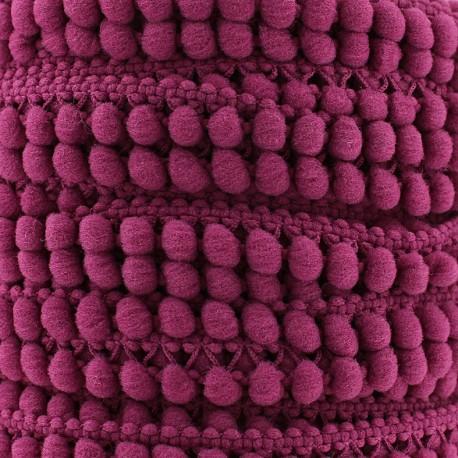 Little pompom braid trimming Color - plum x 1m