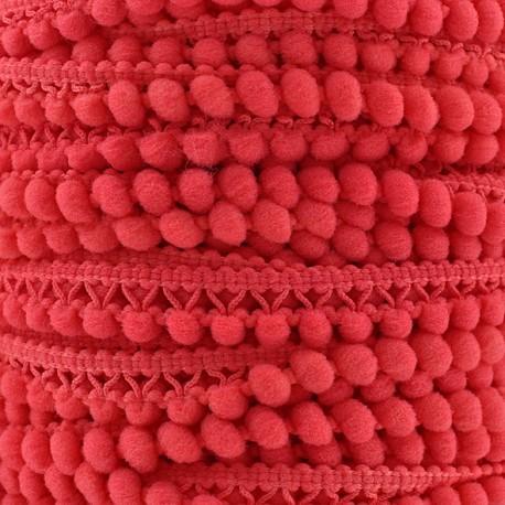 Little pompom braid trimming Color - cherry x 1m