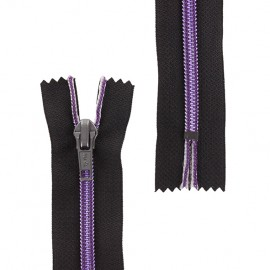 Brass Closed end zipper metallic thread - purple