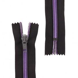 Fermeture éclair fil métallisé non séparable - violet