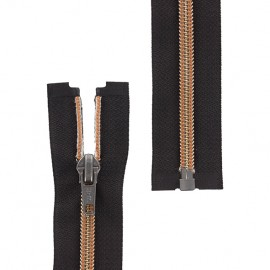 Open-end zipper metallic thread - light brown