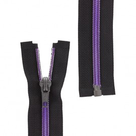 Open-end zipper metallic thread - purple