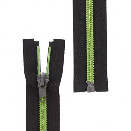 Open-end zipper metallic thread - green