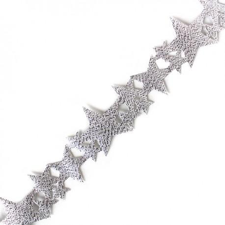 Lamé ribbon Constellation - silver x 1m