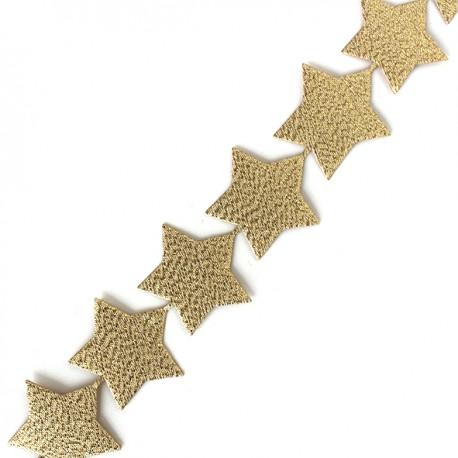 Adhesive lamé ribbon Stars - gold x 50cm