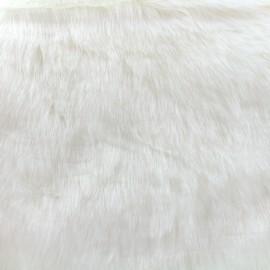 Fourrure poils mi-longs Vizon - écru x 10cm