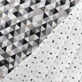 ♥ Coupon 10 cm X 150 cm ♥ Quilted cotton reversible fabric Trimix Twini - black/white