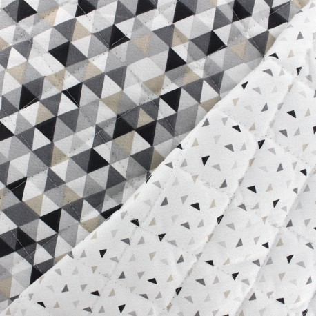 Quilted cotton reversible fabric Trimix Twini - - grey/black x 10cm