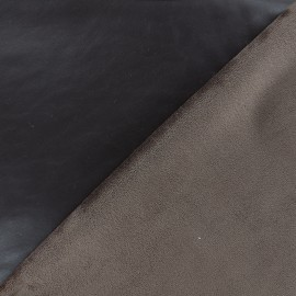 Supple faux leather on velvet - brown x 10cm