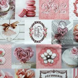 Tissu toile impression digitale Patisserie (280cm) - rose x 43cm