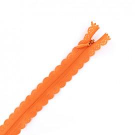 Fermeture éclair® dentelle non séparable invisible - orange