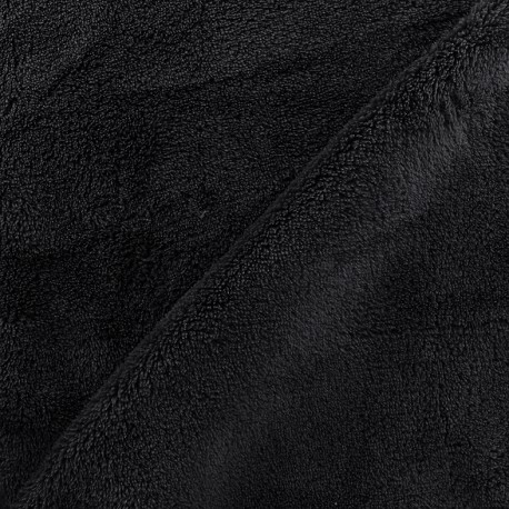 Plain Piloudou fabric - black x 10cm