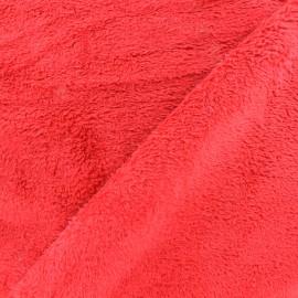 Tissu Piloudou uni - rouge x 10cm