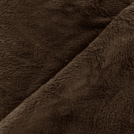 Tissu Piloudou uni - marron x 10cm