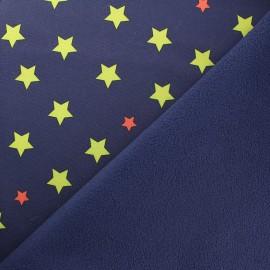 Tissu Néoprène Constellation doublé polaire - marine x 10cm