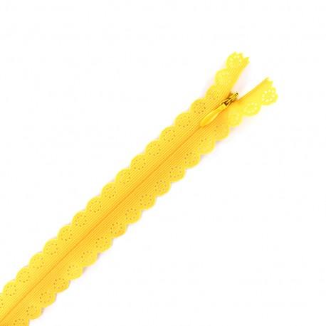 Fermeture éclair® dentelle non séparable invisible - jaune safran