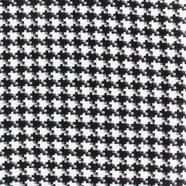 Tissu Lainage petit Pied de poule - noir et blanc x 10cm