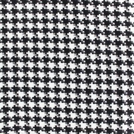 tissu lainage petit pied de poule noir et blanc x 10cm. Black Bedroom Furniture Sets. Home Design Ideas