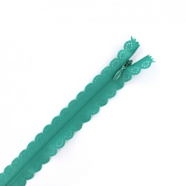 Invisible Closed bottom zipper lace - ocean green