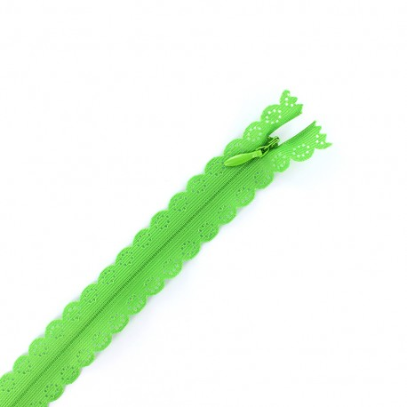 Invisible Closed bottom zipper lace - parrot green