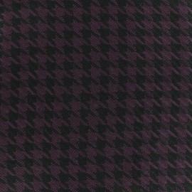 Tissu Lainage Houndstooth - prune x 10cm