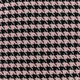 Wool fabric houndstooth - pink x 10cm
