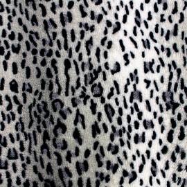 Tissu Doudou Panthère des neiges x 10cm