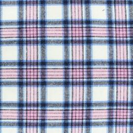 Cotton tartan fabric Scotsman - ecru/pink x 10cm
