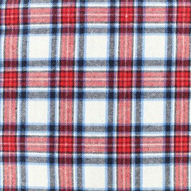 Tissu coton tartan Scotsman - écru/rouge x 10cm