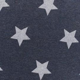 Tissu sweat Glittery Stars - marine x 10cm