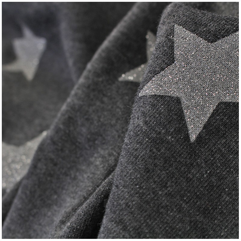 Tissu sweat glittery stars gris anthracite x 10cm ma petite mercerie - Tissu gris anthracite ...