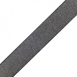 Metallic flat elastic 40mm Cocktail - silver x 1m