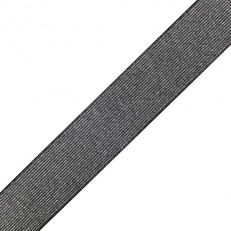 Metallic flat elastic 40mm Cocktail - silver x 1m