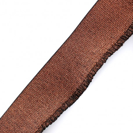 Metallic jupette flat elastic 60mm Cocktail - copper x 1m