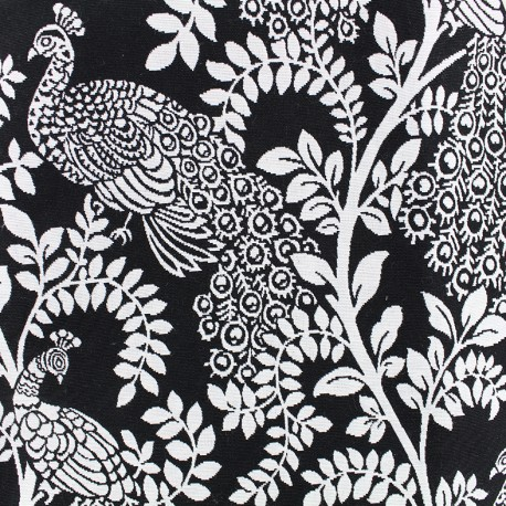 tissu toile jacquard peacock noir et blanc x 35cm ma petite mercerie. Black Bedroom Furniture Sets. Home Design Ideas