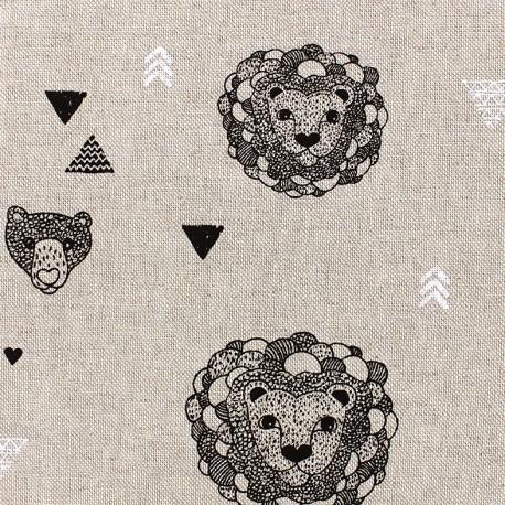 Cotton Canvas Fabric Jungle - linen x 20cm
