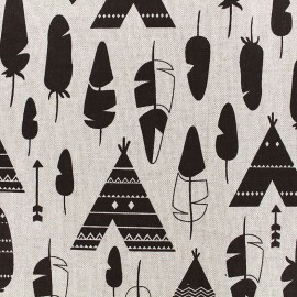 Cotton Canvas Fabric Ethnic - linen x 20cm